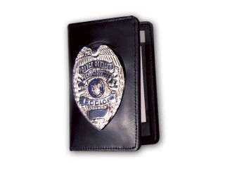 """98-ABA_2 5/8"""" x 4"""" Duty Leather Book Style Case With Double ID And Outside Mount-"""
