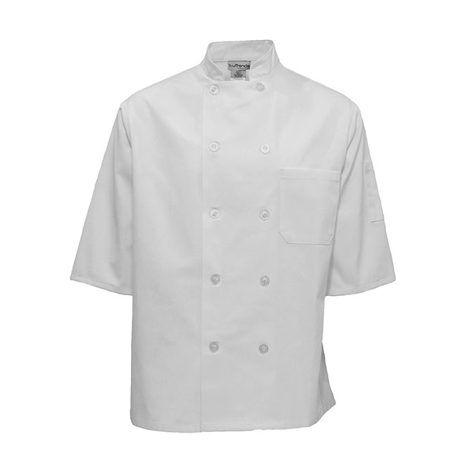 1/2 Sleeve Plastic Button Chef Coat-CHEF TREND