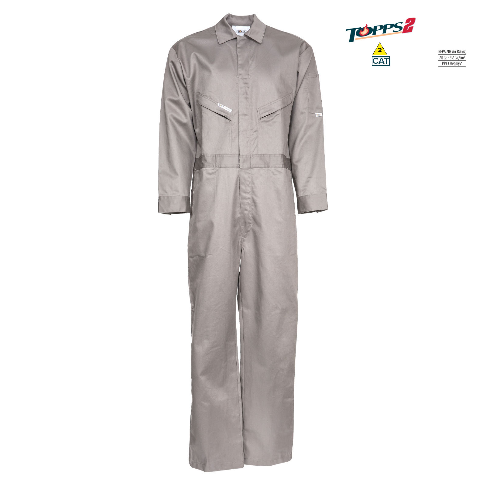 88/12 Cotton/Nylon Blend Flame Resistant Lightweight Economy Oil Field Coverall-