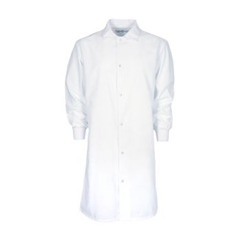 100% MVS Spun Polyester Gripper Snap Butcher Frock, Knit Cuff, No Pocket-