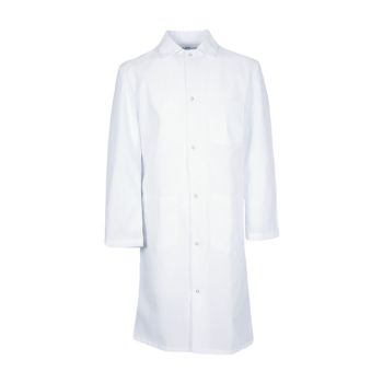 100% MVS Spun Polyester Gripper Snap Butcher Frock, 3 Pocket-