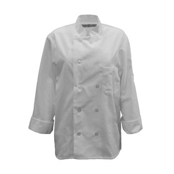 Chef Coat- 10 Pearl Btns, Spun Poly-KITCHEN BASIX
