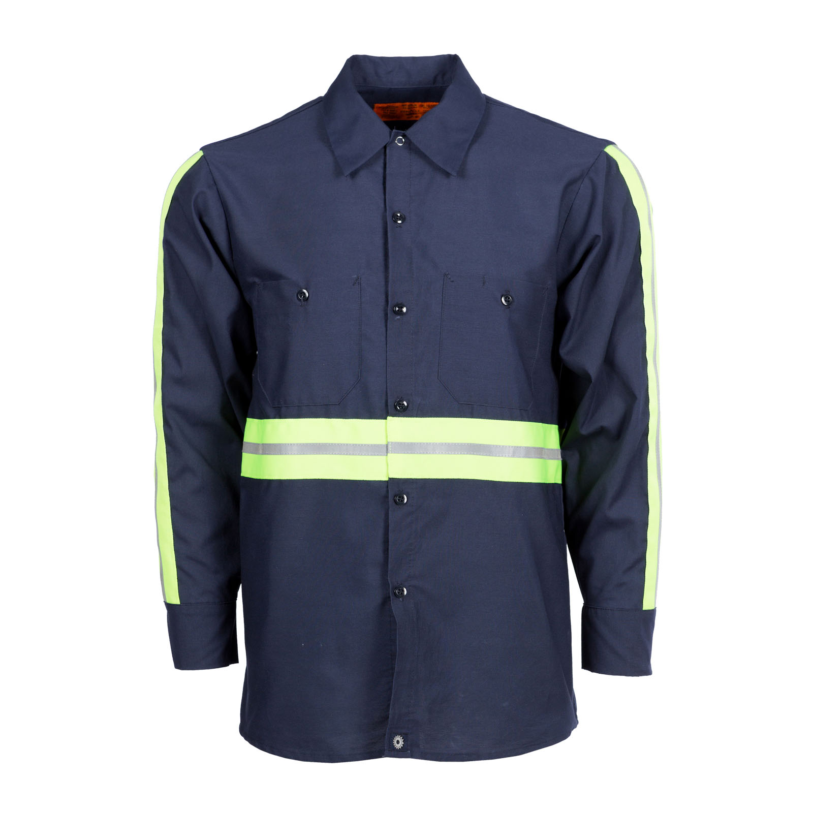 65/35 Enhanced Visibility Men's Long Sleeve Industrial Work Shirt NV Please allow 6 weeks for delivery on Enhanced Visibility items. S10EN- 65/35 Poly/Cotton Poplin 4.25-Pinnacle WorX