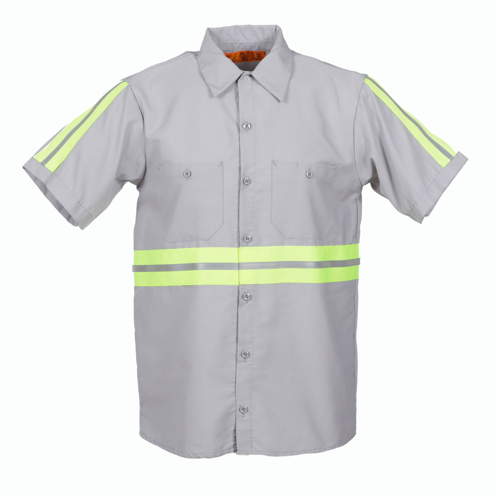 65/35 Enhanced Visibility Men's Short Sleeve Industrial Work Shirt-Pinnacle WorX