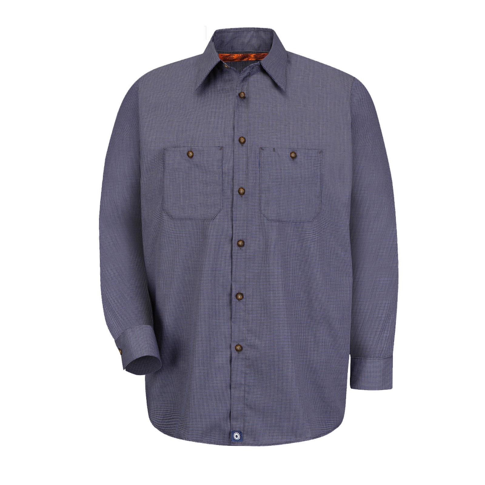 65/35 Men's Long Sleeve Microcheck Industrial Work Shirt-