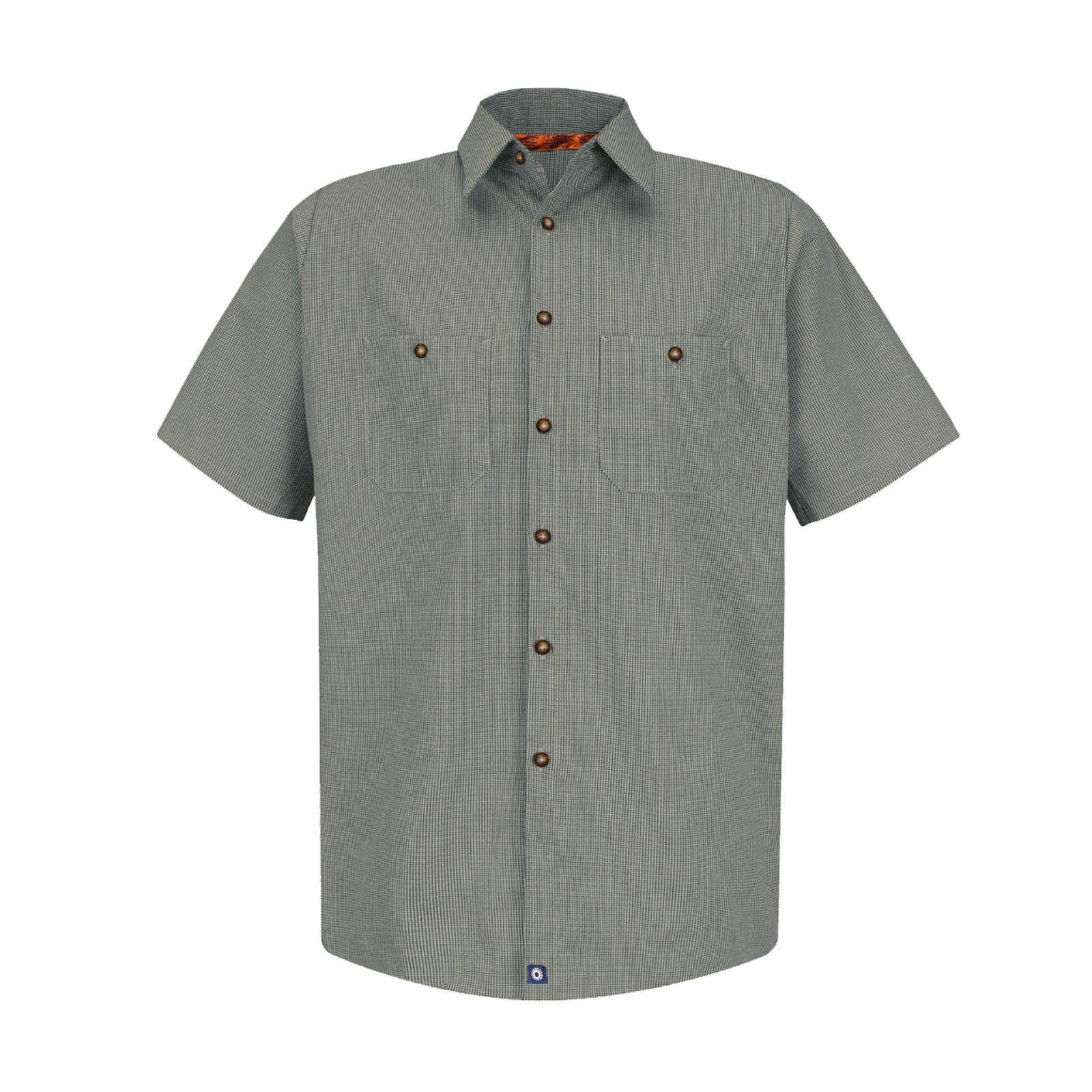 65/35 Men's Short Sleeve Microcheck Industrial Work Shirt-