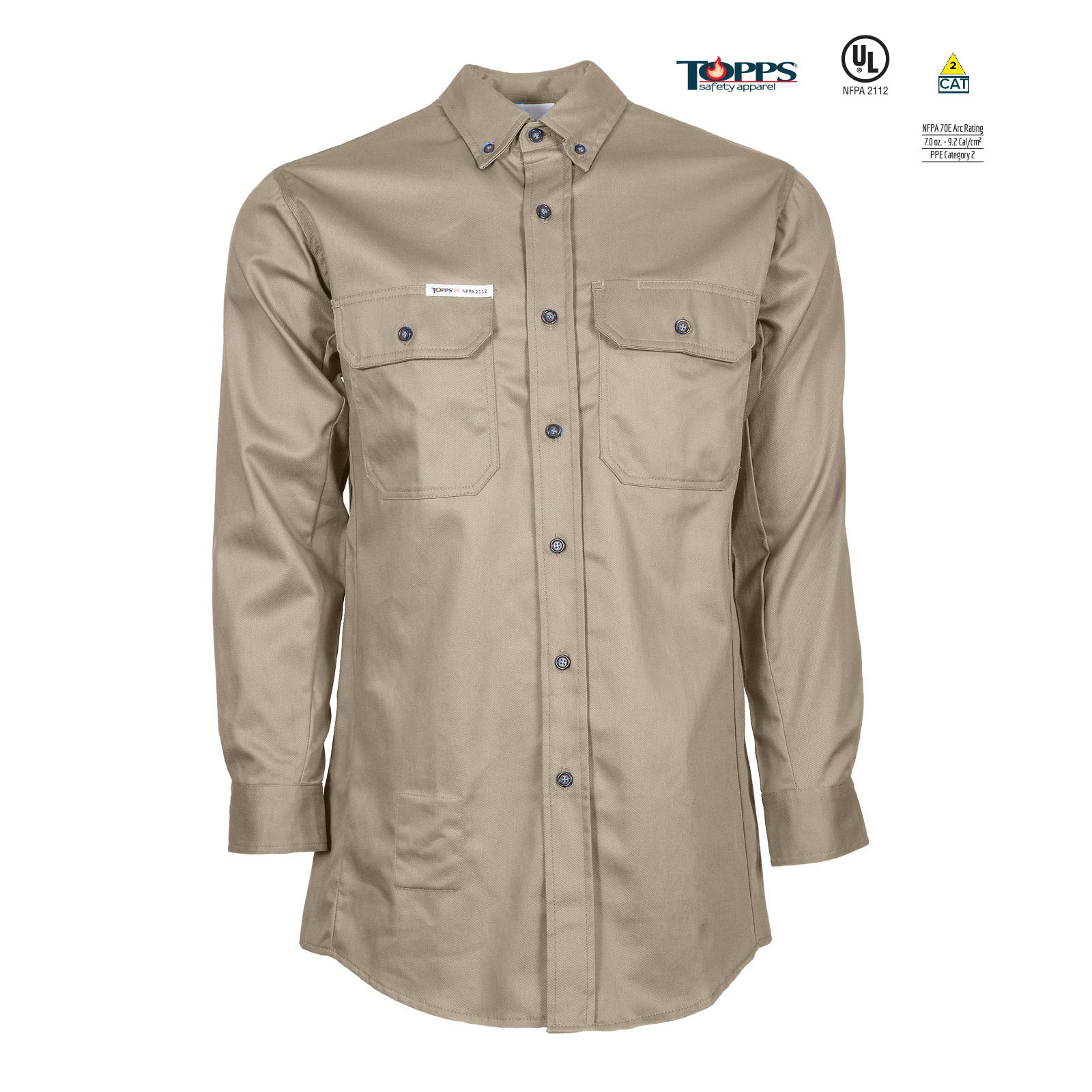 PEAK FR 88/12 Cotton/Nylon Blend Long Sleeve Flame Resistant Button-Front Shirt-