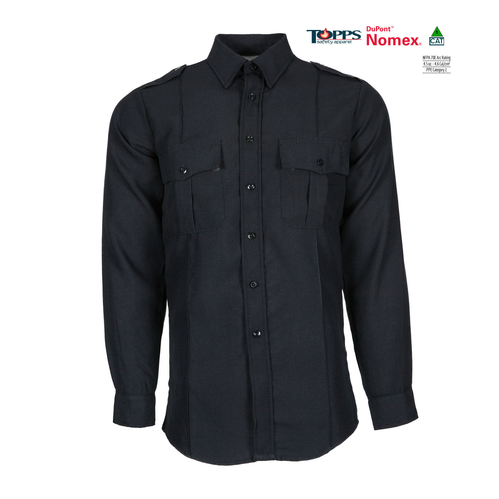 NOMEX® Long Sleeve Flame Resistant Safety Shirt with Epaulets-