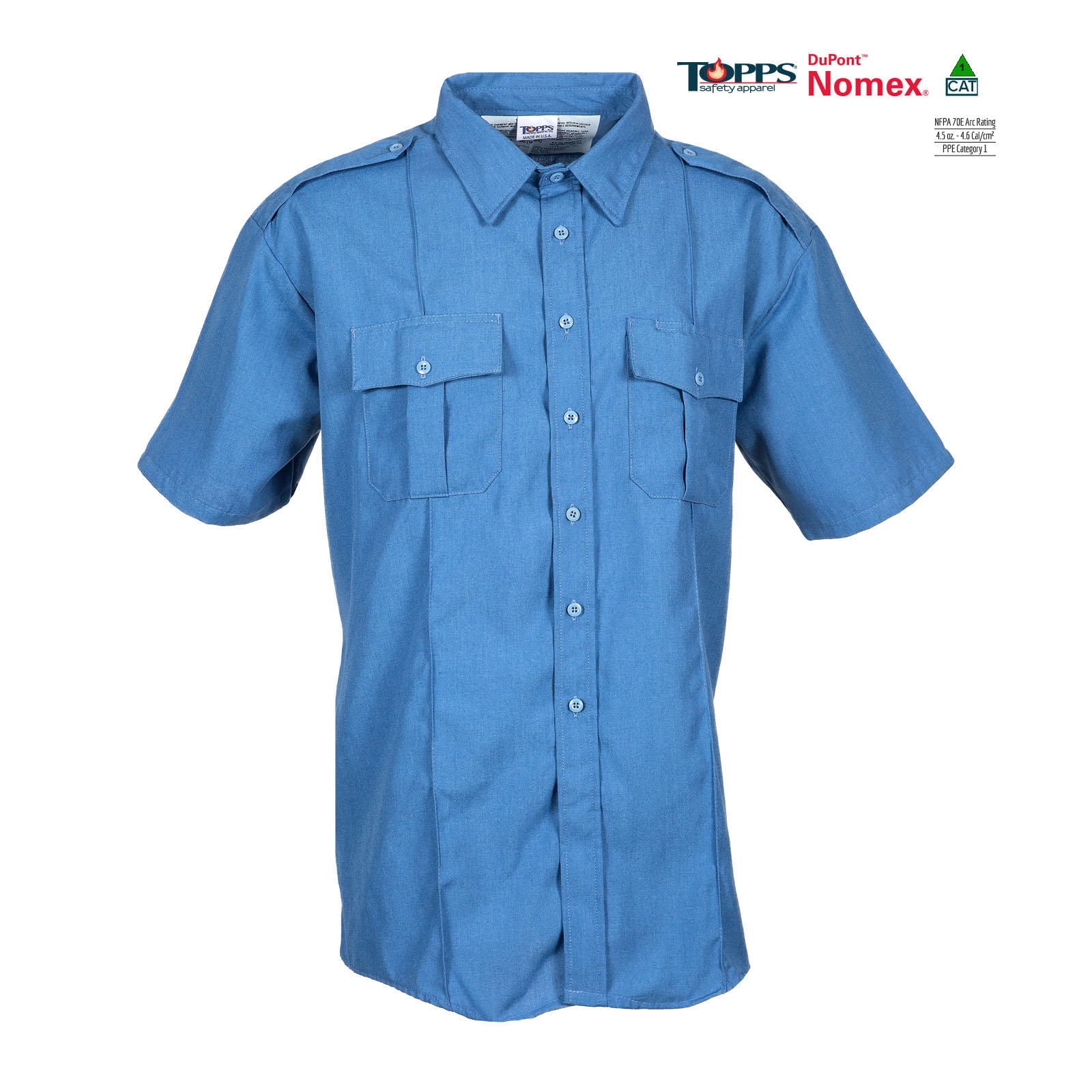 NOMEX® Short Sleeve Flame Resistant Safety Shirt with Epaulets-