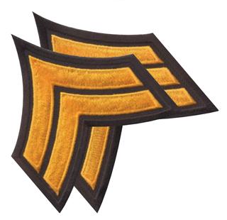 """3 1/2"""" Chevrons Stitched Border 3 3/4"""" X 3""""-Premier Emblem"""