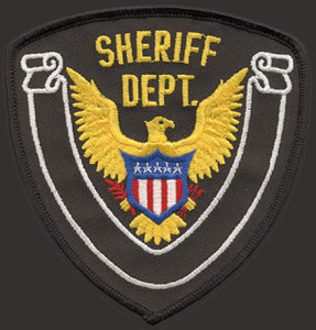 "4 1/4"" X 4 1/2"" Sheriff Dept Patch Eagle/White Banner-Premier Emblem"