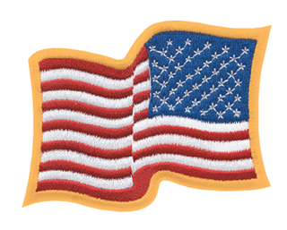 "2 3/4"" X 3 1/4"" Wavy American Flag - Reversed-"