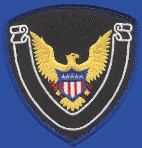 "4 1/4"" X 4 1/2"" Eagle Shield Blank White Banner Emblem-Premier Emblem"