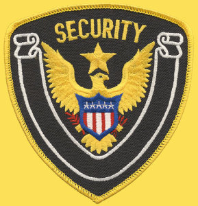 "1/4"" X 4 1/2"" Security Eagle & Star White Banner-Premier Emblem"