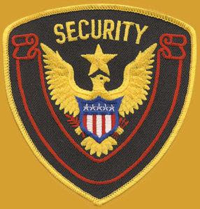 "4 1/4"" X 4 1/2"" Security Eagle & Star Red Banner-"
