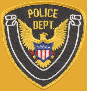 "4 1/4"" X 4 1/2"" Police Dept.Eagle(White Banner)-"
