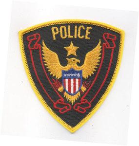 """4 1/4"""" X 4 1/2"""" Police Dept.Eagle(Broken Red Banner)-"""
