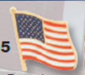Wavy American Flag Pin 5/8-