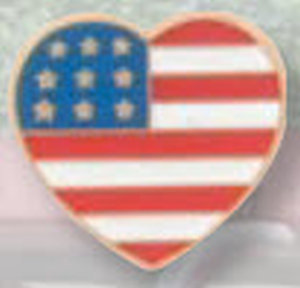 American Flag Heart Pin-