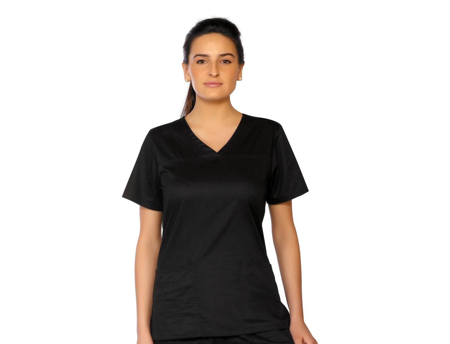 Womens Stretch V-Neck Top, LifeThreads Contego Collection