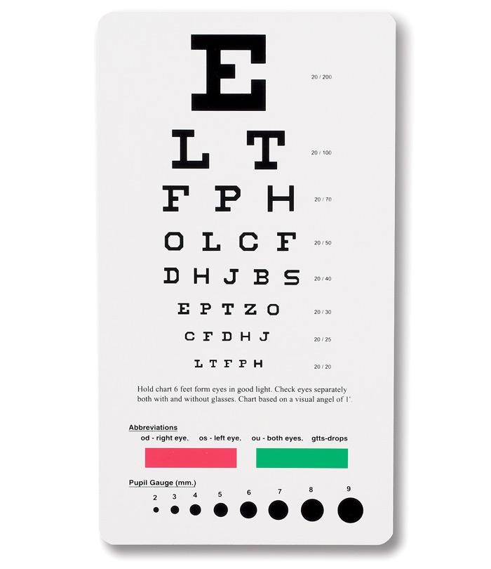 Buy Snellen Pocket Eye Chart Prestige Medical Online At Best Price