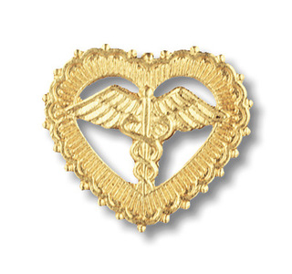 Caduceus in Filigreed Heart Pin-