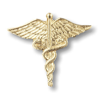Large Gold Caduceus-