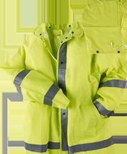 Rain Jacket w/Hood Lime/Reflective Stripes -Argo Uniform