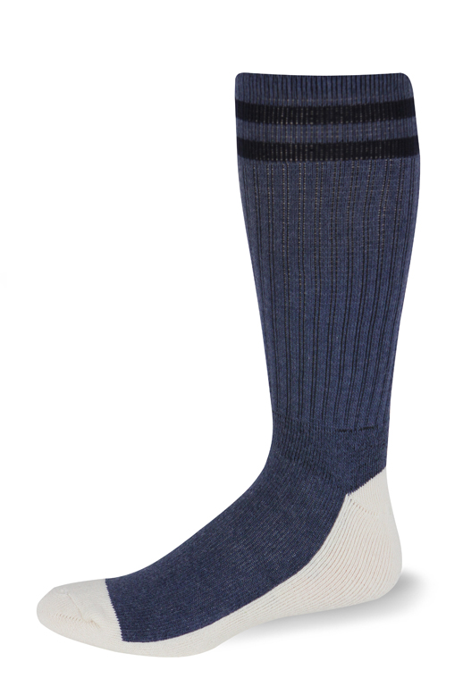 Cushioned Postal Health Sock OTC (Postal Blue with Two Navy Stripes)-Pro Feet
