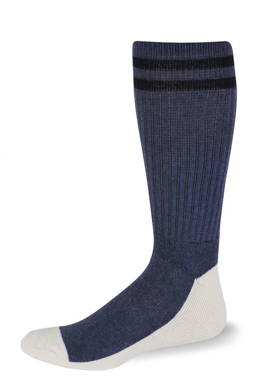Cushioned Postal Health Sock OTC (Postal Blue with Two Navy Stripes)-Pro Feet
