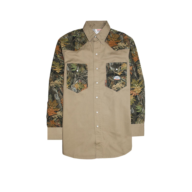 FR Two Tone Work Shirt (Woodland Camo/Khaki)-