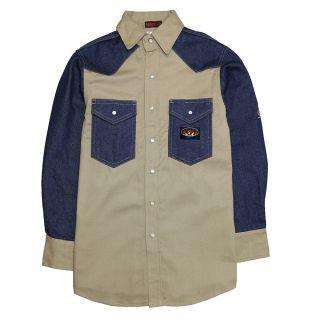 FR Denim/Khaki Work Shirt-Rasco FR