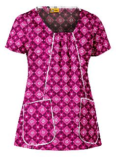 Womens Tossed Pocket Print Top