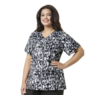 Printed Curved V-Neck Top