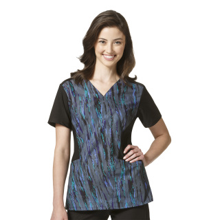 6777 Printed Sporty V-Neck Top