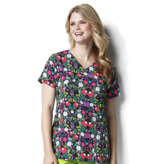 Shirred Fashion Wrap Print Top