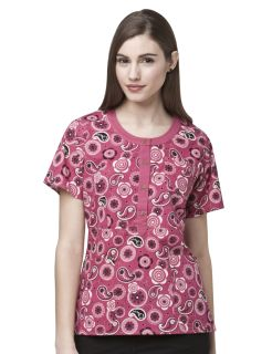 Round Neck Button Front Top