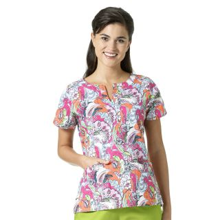 LINDA Notch Neck Print Top