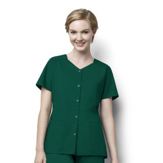 WonderWink WonderWork Medical Short Sleeve Snap Front Top-WonderWink