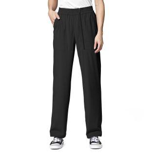 WAO Wmns Wide Leg Zip Scrub Pant Black-WonderWink