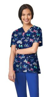 Womens Printed V-Neck Top-