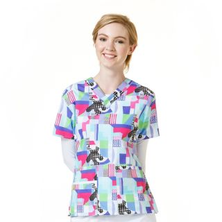 Womens Printed V-Neck Top-WonderWink