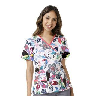 Womens Printed Mock Wrap Top-WonderWink