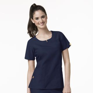 Womens Foxtrot Round Neck Top-WonderWink