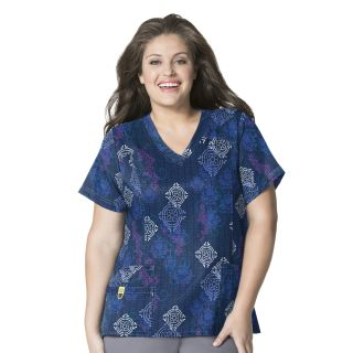 WonderWink Plus Prints Curved V-Neck Scrub Top-WonderWink