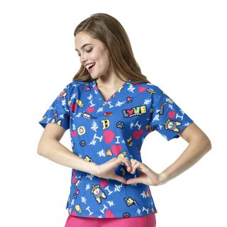 I Love WonderWink V-Neck Print Scrub Top-