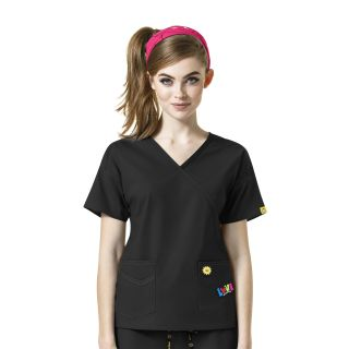 I Love WonderWink Mock Wrap Print Scrub Top-