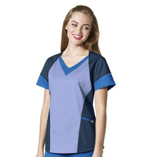 Womens V-Neck Tri Top-WonderWink