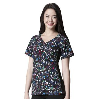 WonderWink Four Flex Stretch Print Knit Panel Scrub Top-WonderWink