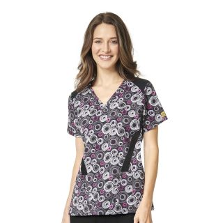 Stylized VNeck Flexi Print Top-WonderWink